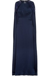 Safiyaa Celine Embellished Hammered Silk Satin Gown Midnight Blue Gbp
