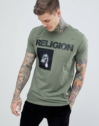 Religion Muscle Fit T Shirt In Green With Patch Print