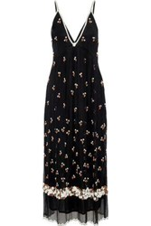 Antik Batik Tahira Bead Embellished Georgette Maxi Slip Dress Black