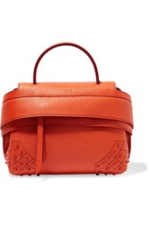 Tod's Wave Micro Textured Leather Tote Orange