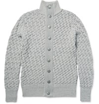 S.N.S. Herning .N. Tark Baketweave Virgin And Merino Wool Blend Cardigan Gray