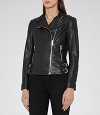 Reiss Shelby Womens Leather Biker Jacket In Black