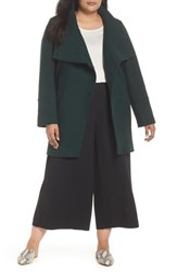 Halogen Plus Size Boiled Wool Blend Asymmetrical Coat Evergreen