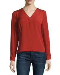 1.State V Neck Cutout Back Blouse Red