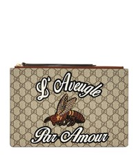 Gucci Gg Supreme Bee Pouch Female Beige