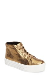 Kenneth Cole Women's New York Janette High Top Platform Sneaker Gold Leather
