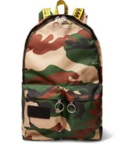 Off White Logo Trimmed Camouflage Print Canvas Backpack Green