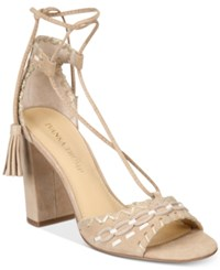 Ivanka Trump Karita Lace Up Block Heel Sandals Women's Shoes Natural