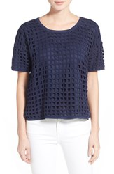 Women's Bobeau Short Sleeve Crochet Top Navy