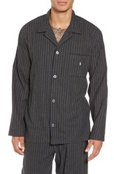 Ralph Lauren Men's Polo Flannel Pajama Shirt Charcoal Heather Cream