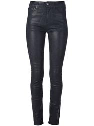 Mm6 By Maison Martin Margiela Waxed Effect Skinny Jeans Blue
