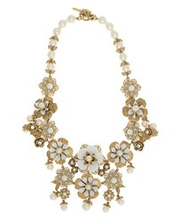 Marchesa Faux Pearl Floral Collar Necklace Gold
