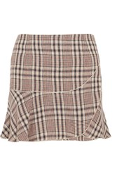 Etoile Isabel Marant Jevil Plaid Linen Mini Skirt Ecru
