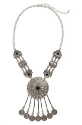 Junior Women's Bp. Stone And Coin Fringe Statement Necklace