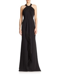 Carmen Marc Valvo Embellished Gown Black