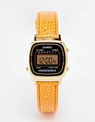 Casio La670wegl 4A2ef Orange Snake Leather Digital Watch