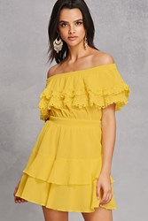 Forever 21 Crinkled Off The Shoulder Dress Yellow