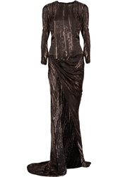 Balmain Printed Silk Chiffon Gown Brown