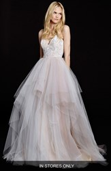 Women's Hayley Paige 'Nicoletta' Floral Sequin Bodice Tiered Tulle Gown In Stores Only