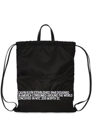 Calvin Klein 205W39nyc Embroidered Nylon Drawstring Backpack Black White