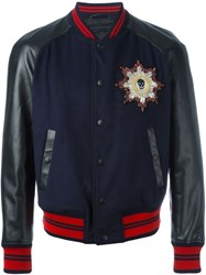 Alexander Mcqueen Leather Sleeve Bomber Jacket Blue