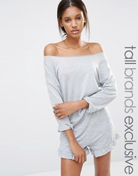 One Day Tall Off Shoulder Slouchy Sweat Grey Marl