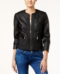 Joujou Jou Jou Embossed Faux Leather Jacket Black