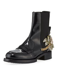 N 21 Leather Boots With Crystal Flower Black