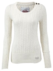 Superdry Croyde Cable Crew Neck Jumper Cream