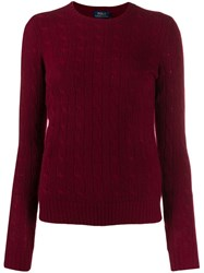 Polo Ralph Lauren Cable Knit Fitted Sweater Red