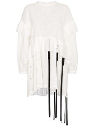 Sandy Liang Rosemary Floral Broderie Anglaise Ruffle Cotton Dress White