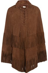 Talitha Fringed Suede Cape Brown
