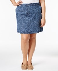 Karen Scott Plus Size Printed Chambray Skort Only At Macy's Chambray Combo
