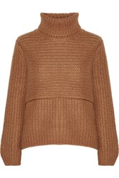 Michelle Mason Layered Ribbed Knit Turtleneck Sweater Camel