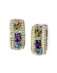 Effy Balissima Sterling Silver And 18Kt. Yellow Gold Multi Colored Stone Hoop Earrings Multicolor