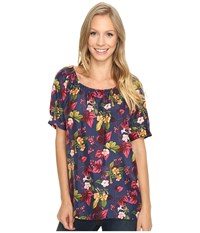 Tommy Bahama Charo Blossoms Peasant Top Coastline Women's Short Sleeve Pullover Navy