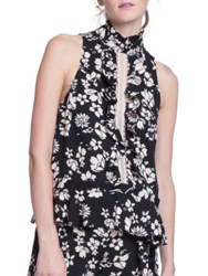 Tracy Reese Floral Print Sleeveless Top Black Floral
