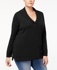 Charter Club Plus Size Shawl Collar Sweater Created For Macy's Deep Black