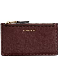 Burberry Two Tone Leather Zip Card Case Red