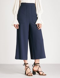 See By Chloe Wide Leg Cropped Crepe Trousers Dark Sapphire