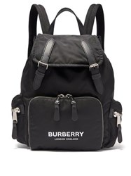 Burberry Medium Nylon And Leather Backpack Black