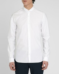 M.Studio Dini White Poplin Cotton Shirt Fitted Cut Small Club Collar