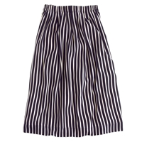J.Crew Pleated Midi Skirt In Stripe Navy