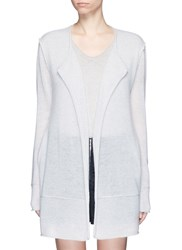 James Perse Roll Edge Long Cashmere Cardigan Grey