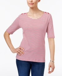 Karen Scott Laced Shoulder Striped Top Only At Macy's New Red Amore