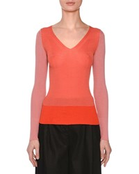 Missoni V Neck Long Sleeve Colorblocked Sweater Pink