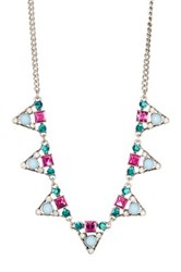 Spring Street Pink And Blue Stone Mini Statement Necklace Multi