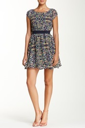 Fire Banded Waist Printed Dress Blue
