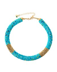 Fragments For Neiman Marcus Fragments Multicolored Seed Bead Choker Necklace Turquoise