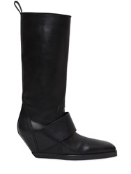 Rick Owens 70Mm Leather Band Wedged Knee High Boots